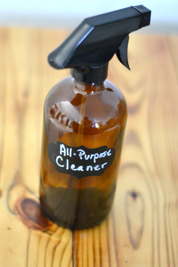 All-purpose cleaner made with vinegar on a table.
