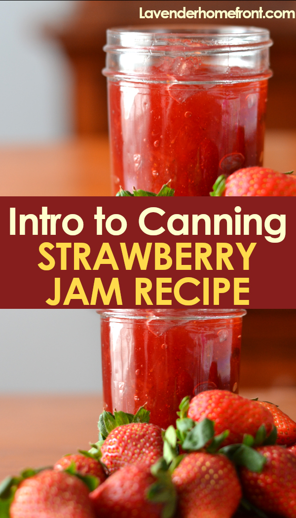 canning 101 strawberry jam pinnable image