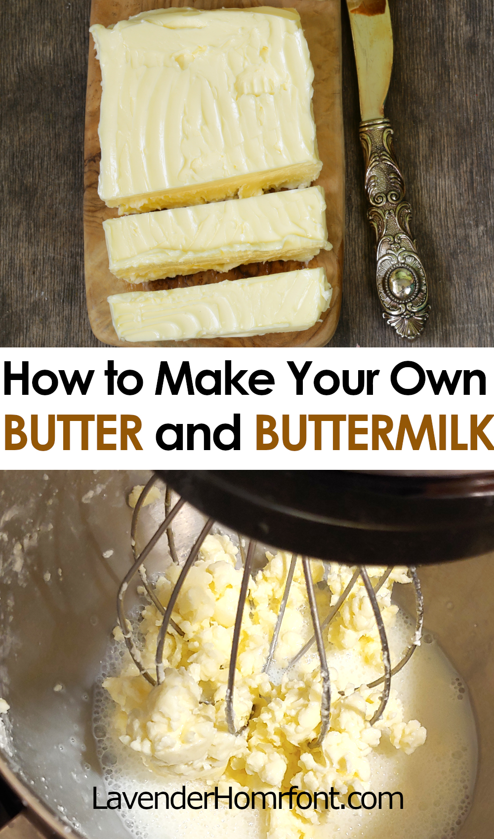 making butter and buttermilk pinnable image with text overlay.