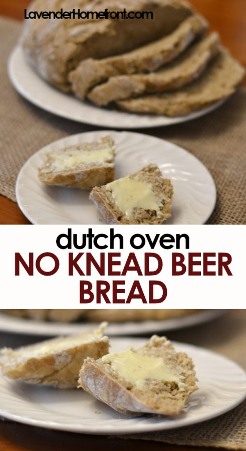 dutch oven no knead beer bread pinnable image