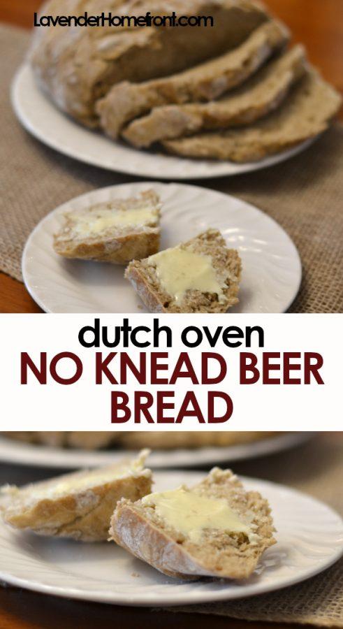 dutch oven no knead beer bread pinnable image