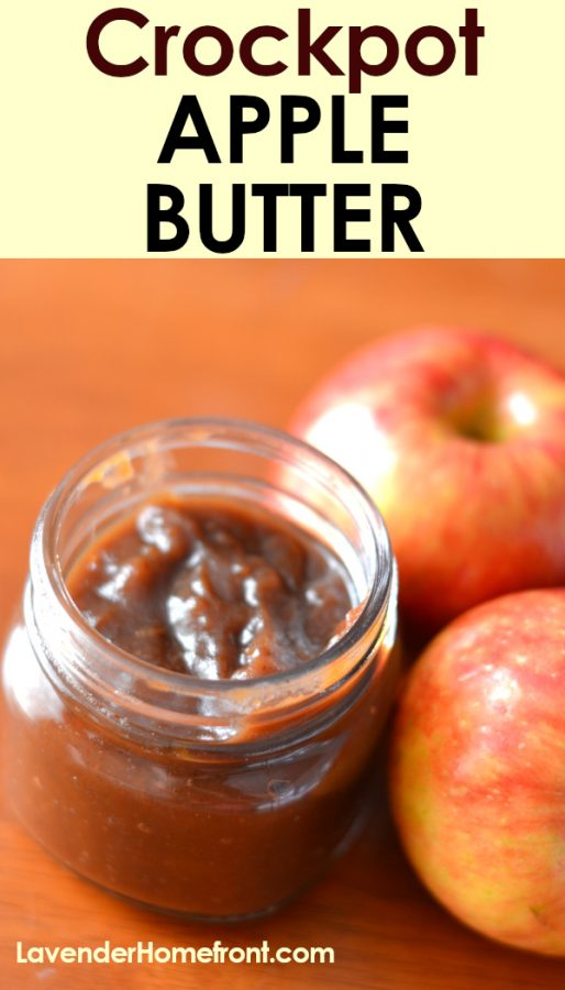 Crock-pot apple butter pinnable image