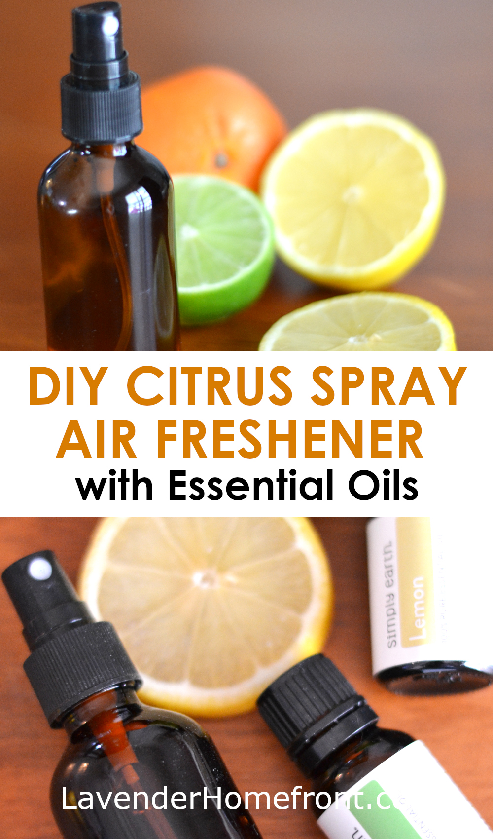 Citrus Spray Air Freshener with Essential Oils pinnable image
