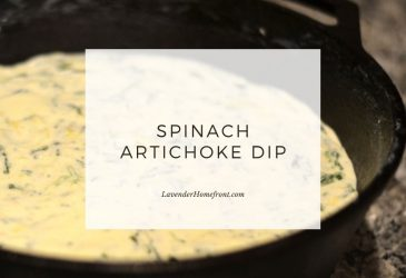 spinach artichoke dip main image with text overlay.