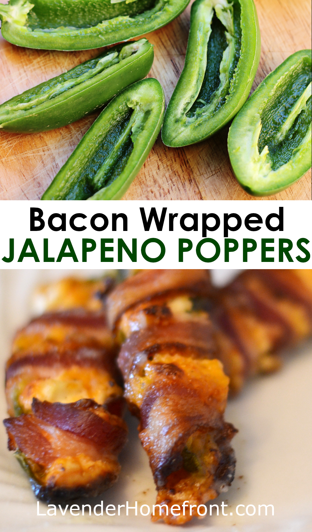 Bacon wrapped jalapeno popper pinnable image with text overlay.