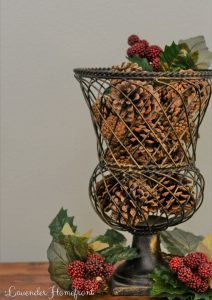 holiday scented cinnamon pine cones in a vase