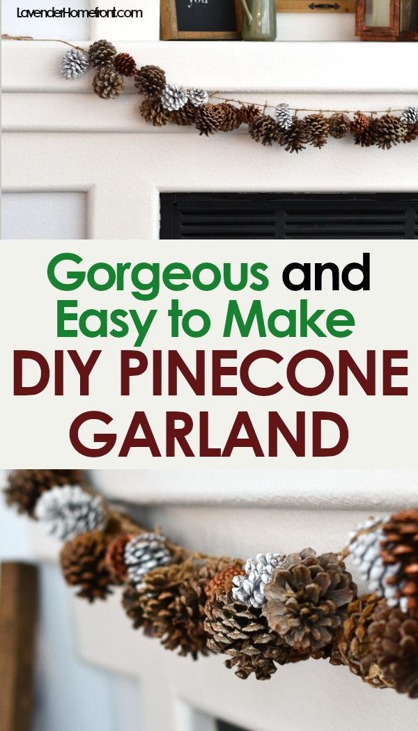 DIY pinecone garland for Christmas decoration natural decor pinnable image with text overlay