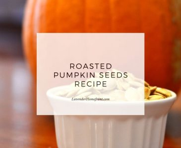 Roasted pumpkin seeds recipe main image with text overlay.