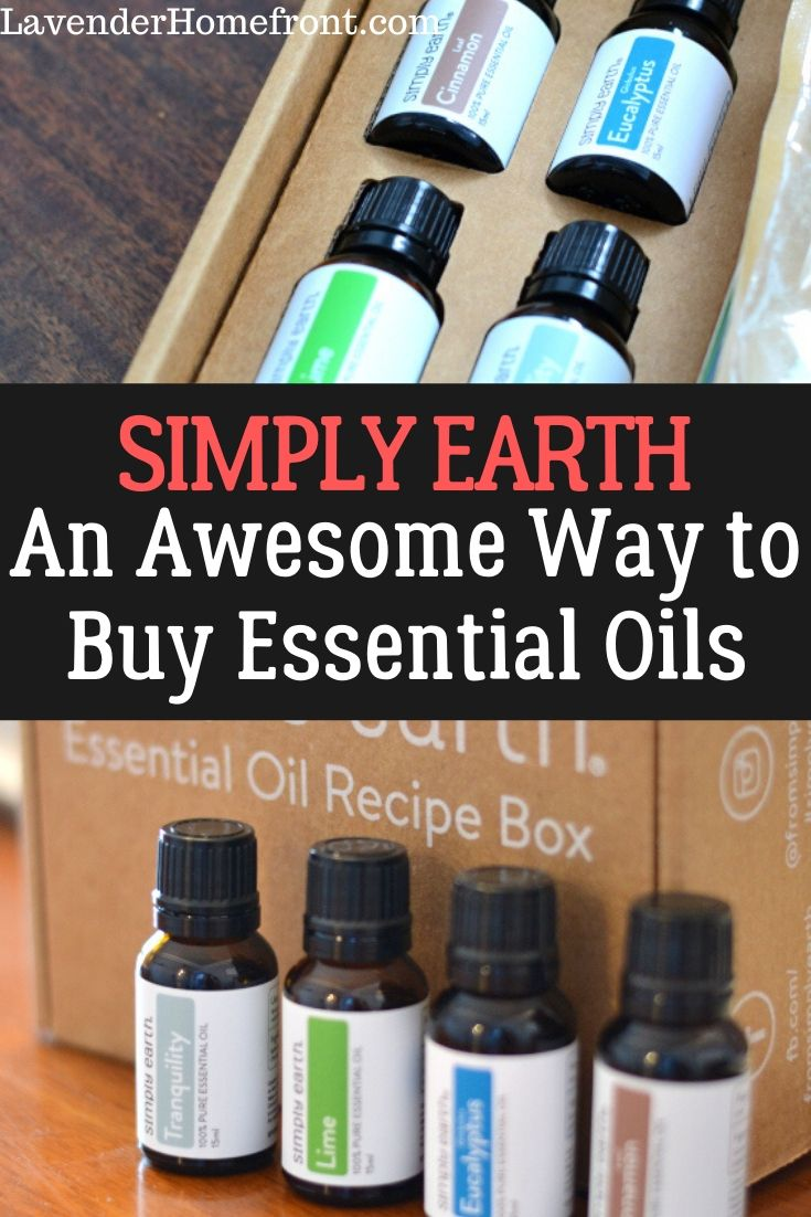 simply earth subscription box for essential oils pinnable image with text overlay.