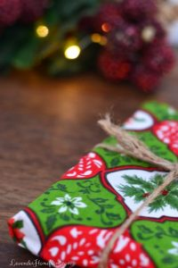 using christmas fabric as a sustainble gift wrapping option