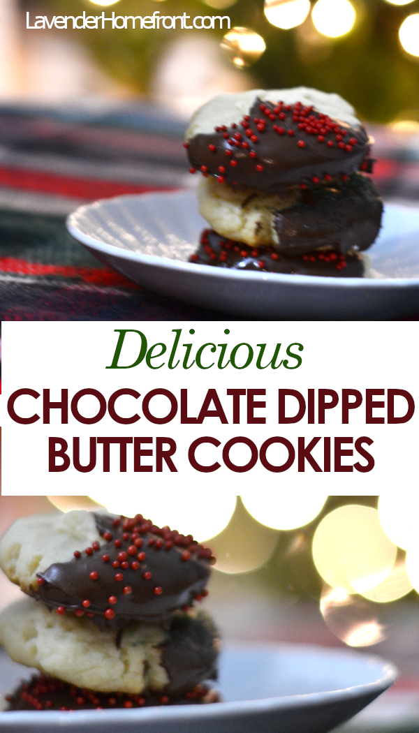 easy to make butter cookies with chocolate Christmas decorations pinnable image