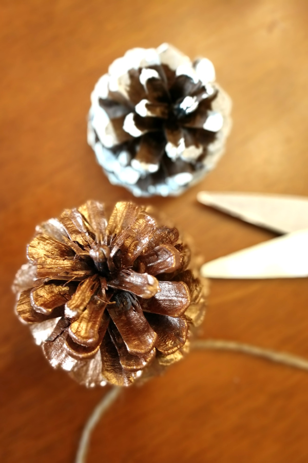 materials for a pine cone ornament sitting on a table.