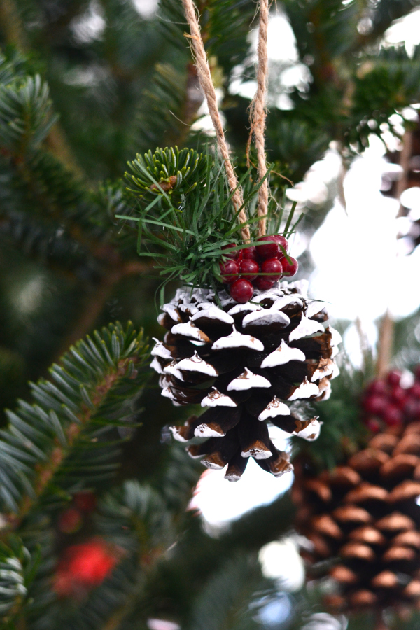 painted white pine cone ornaments on a Christmas Tree.