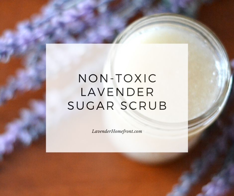 DIY non-toxic lavender sugar scrub with text overlay