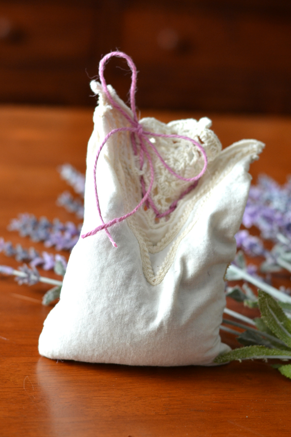 handmade sachet filled with spring potpourri.