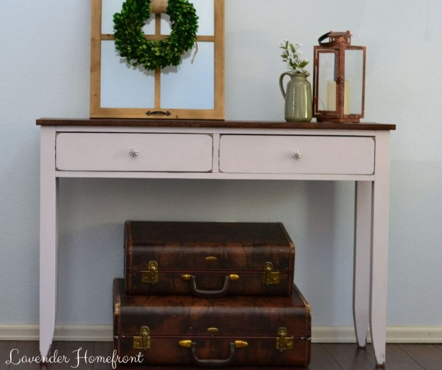 sustainable chalk painted sofa table