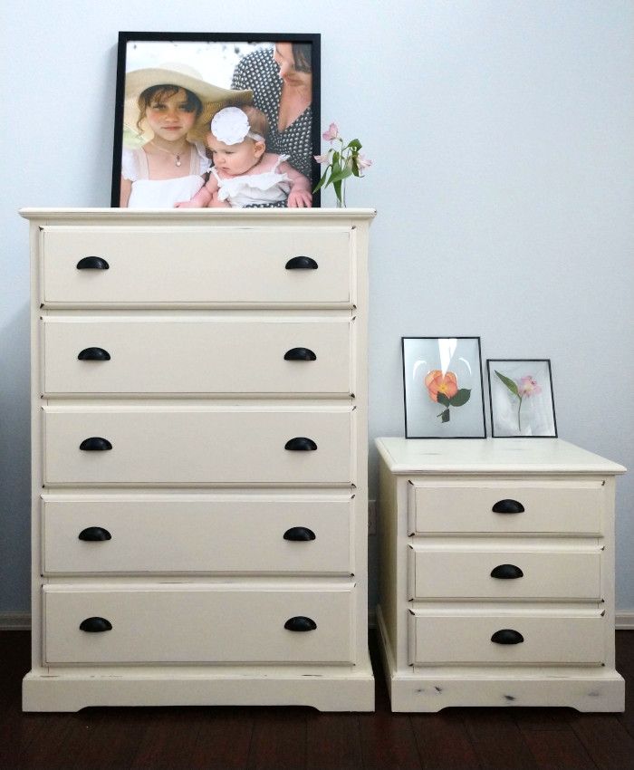 after picture of white dresser and nightstand makeover