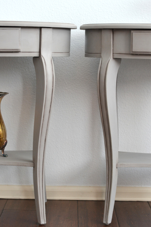 side tables with antiquing wax