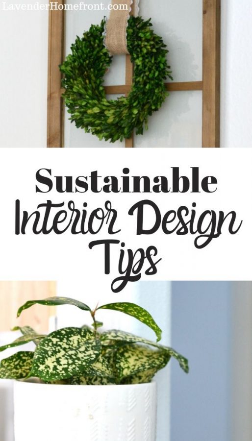 sustainable interior design and home decor pinnable image