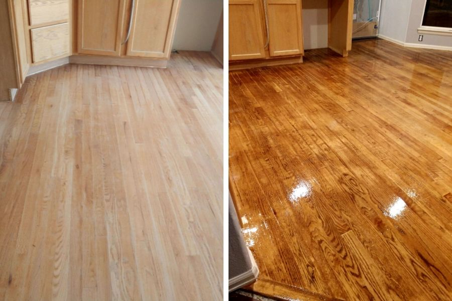 kitchen remodel wood floor refinish before and after pictures