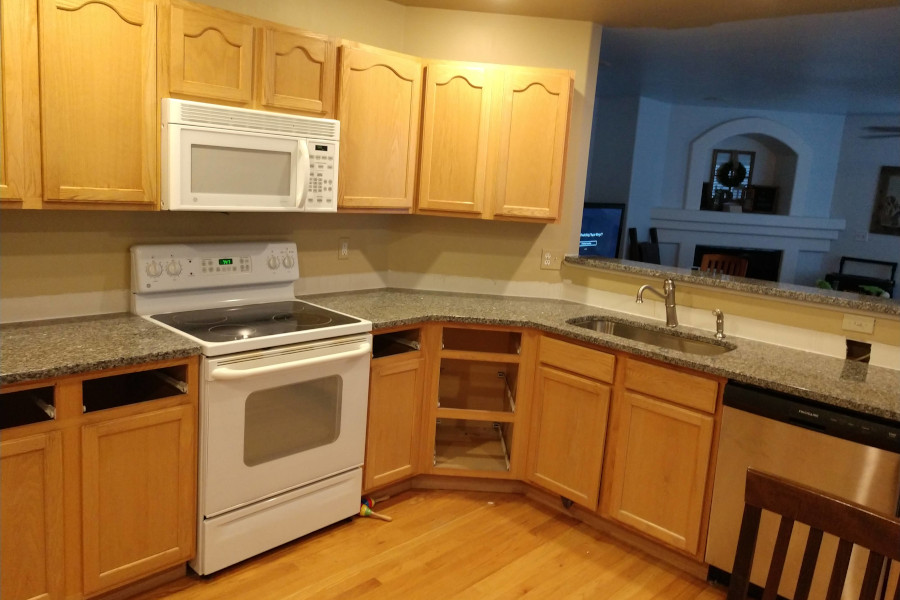 grey granite countertops installed during a kitchen remodel