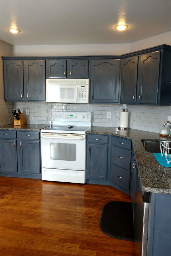kitchen remodel with blue grey cabinets