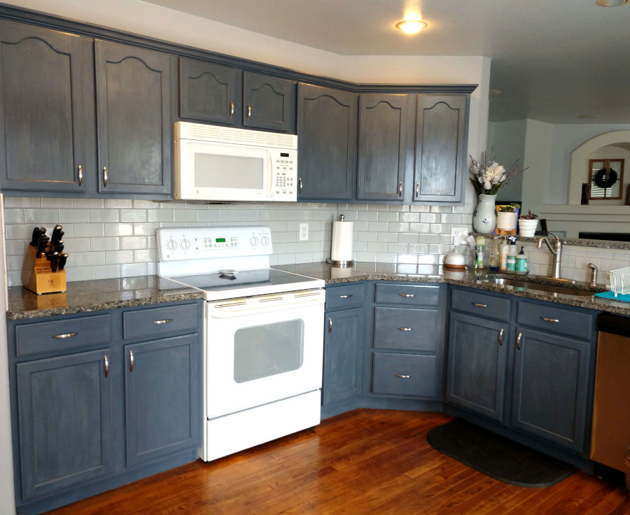 blue cabinets painted with chalk paint in a kitchen remodel