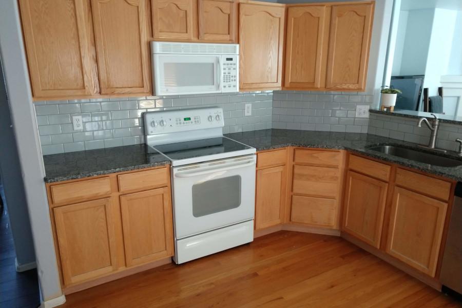 tile backsplash installed during a kitchen remodel