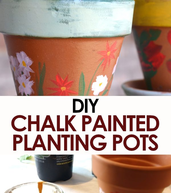 DIY chalk painted terra cotta pots pinnable image