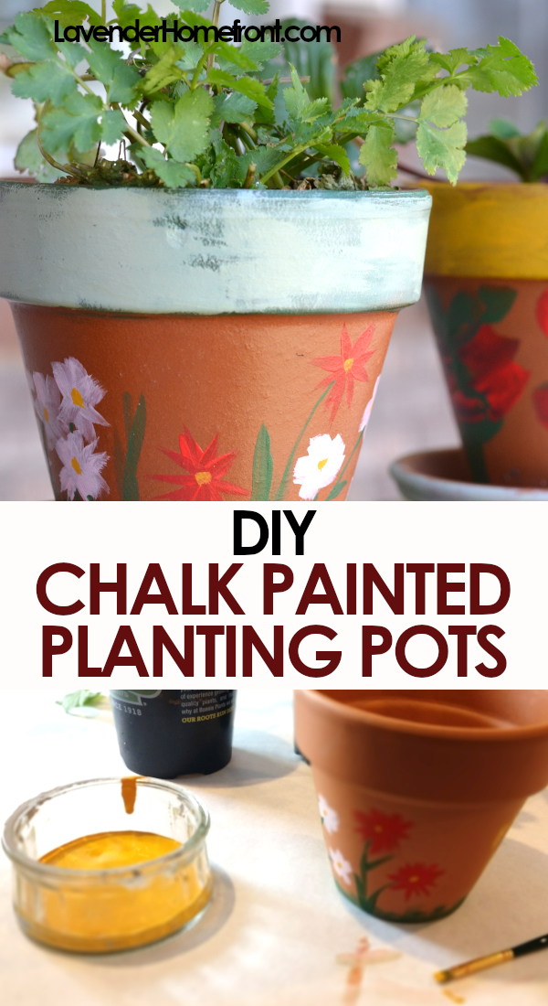 DIY chalk painted terra cotta pots pinnable image
