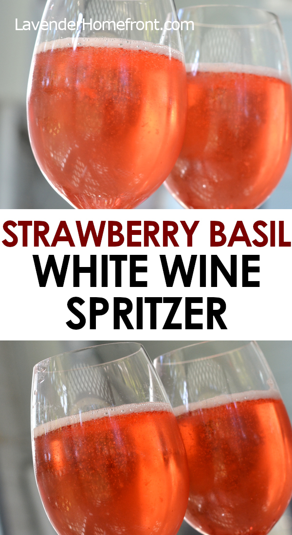 strawberry basil white wine spritzer pinnable image