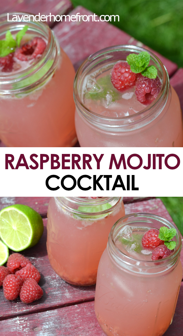 raspberry mojito cocktail recipe pinnable image