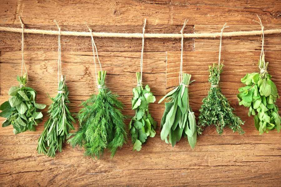 hanging herbs to dry with jute cord