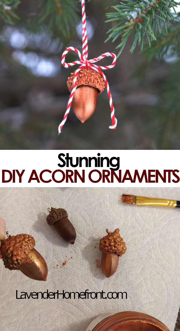 handmade DIY acorn ornament pinnable image