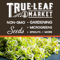 microgreens and non-GMO seeds advertising display