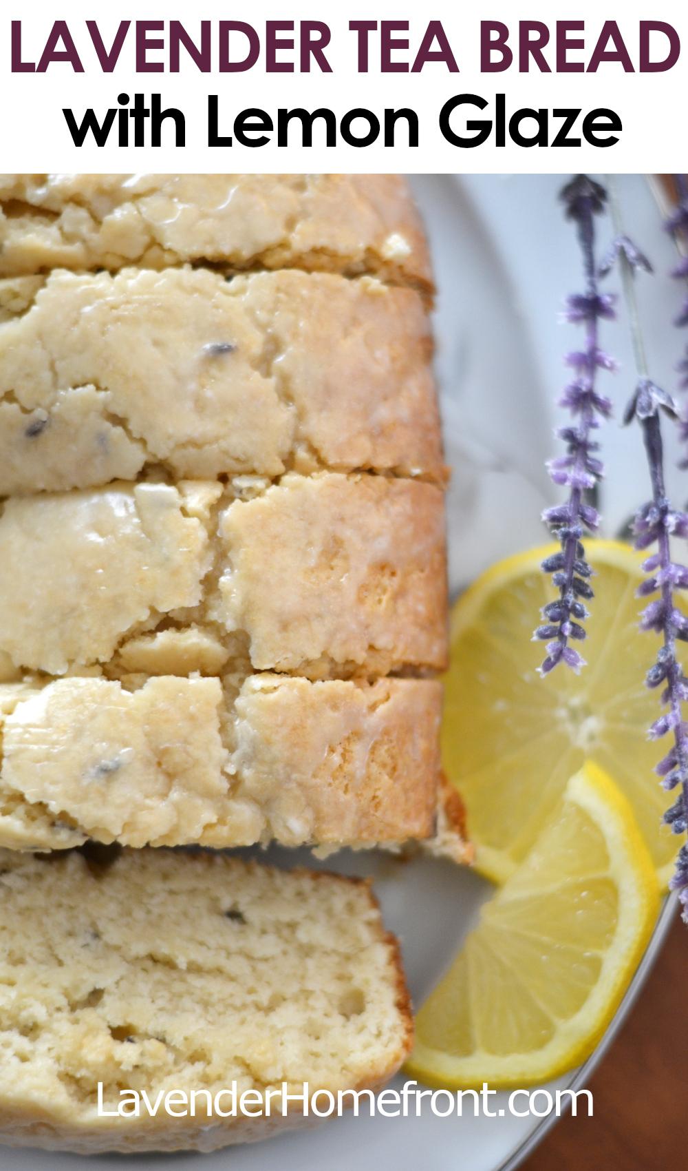 Lavender tea bread with lemon glaze pinnable image with text overlay