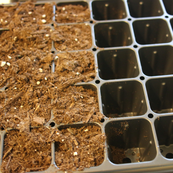 Seed starting tray filled halfway with seed starting soil.