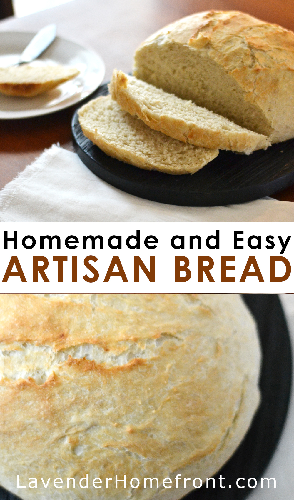 artisan bread recipe pinnable image with text overlay.