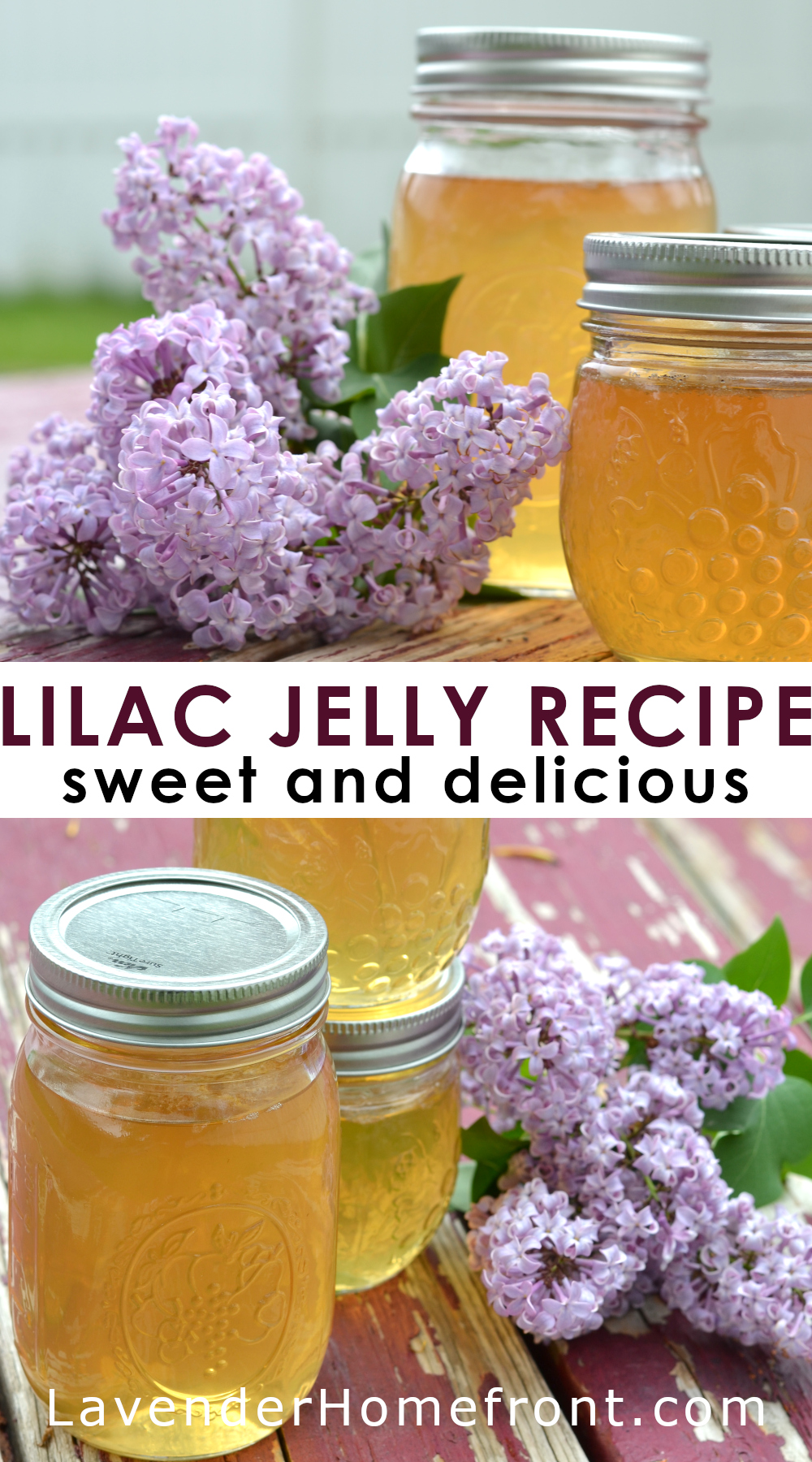Homemade lilac jelly recipe pinnable image with text overlay.