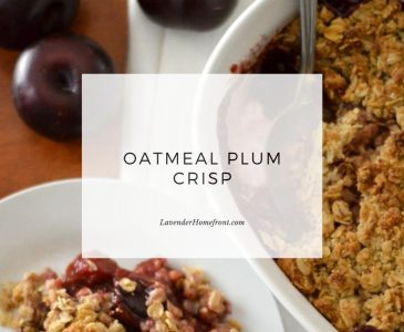 Oatmeal plum crisp recipe main image with text overlay.