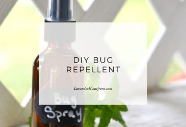 Homemade bug repellent main image with text overlay.