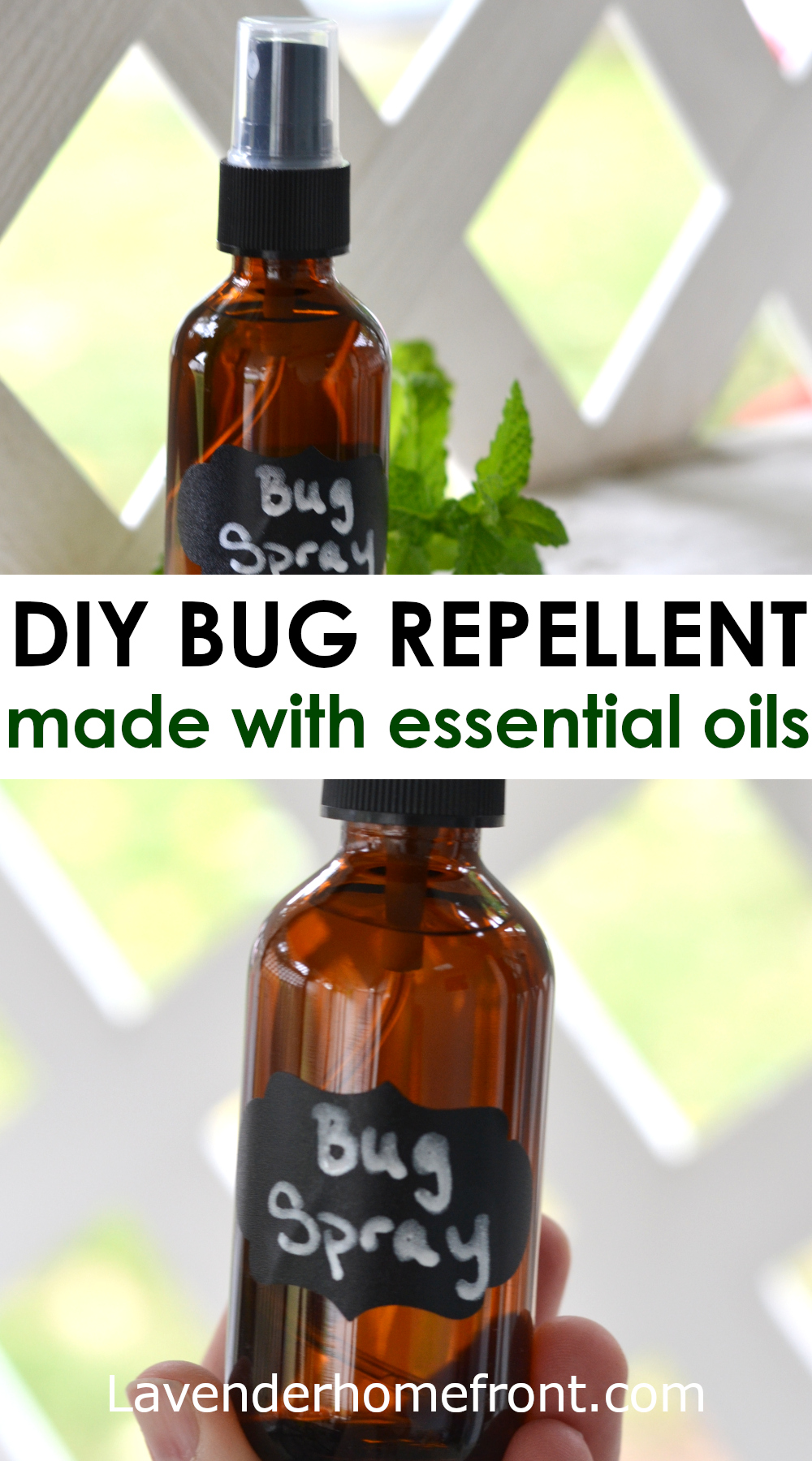 Homemade insect repellent spray pinnable image with text overlay.