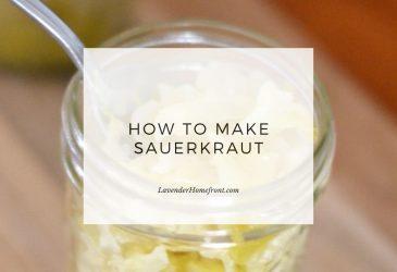 Sauerkraut recipe main image with text overlay.
