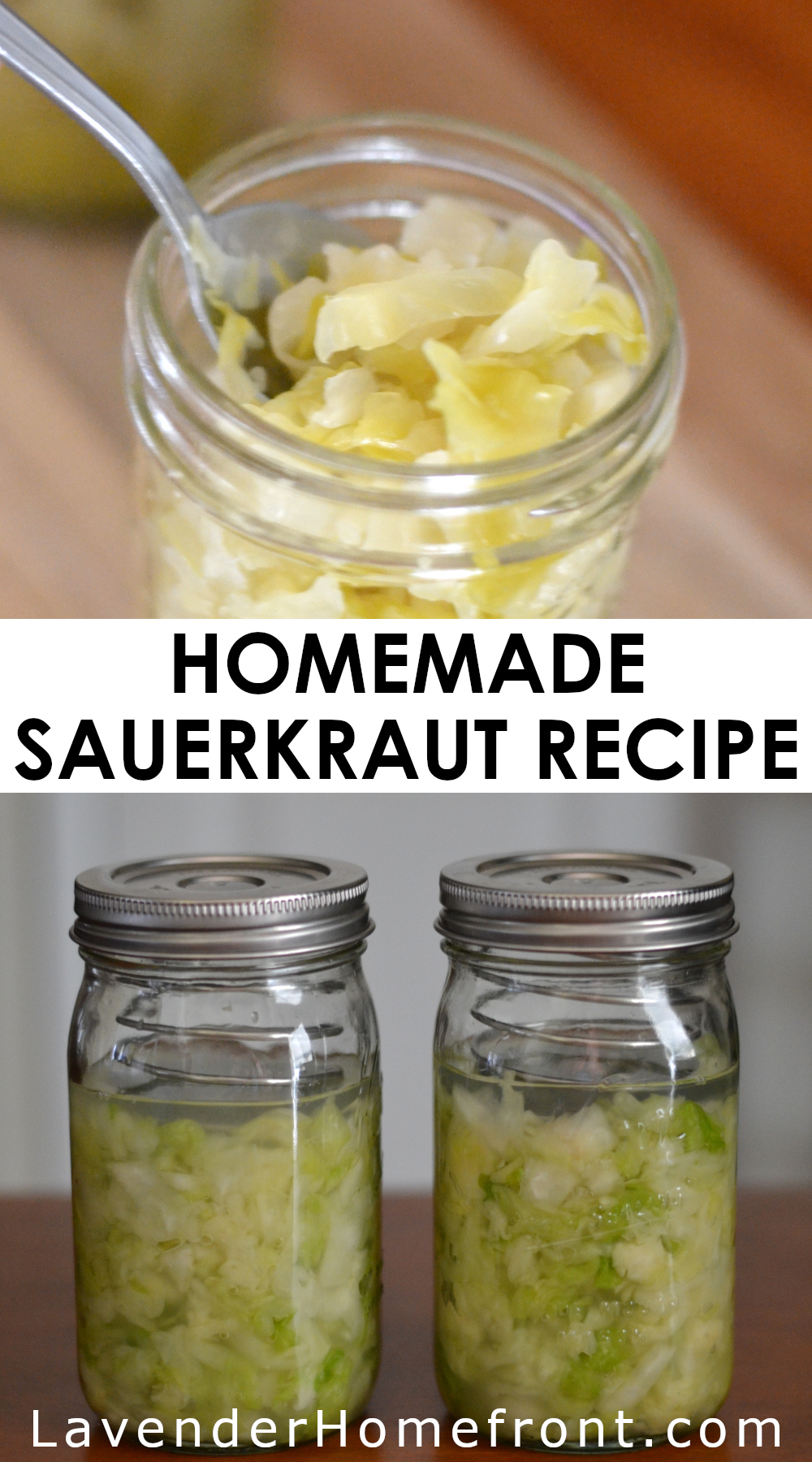 How to make sauerkraut pinnable image with text overlay.