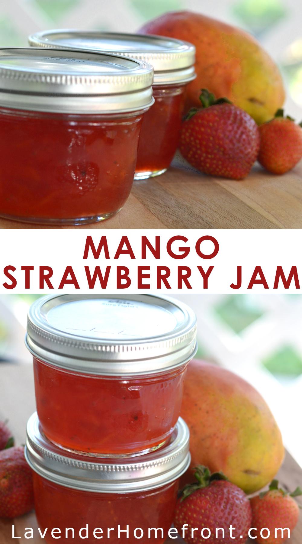 Homemade strawberry mango jam recipe pinnable image.